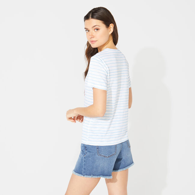 NAUTICA JEANS CO. STRIPED GRAPHIC T-SHIRT,Bright White,large
