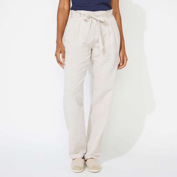 LINEN BLEND HIGH WAIST PANTS - Sandcove
