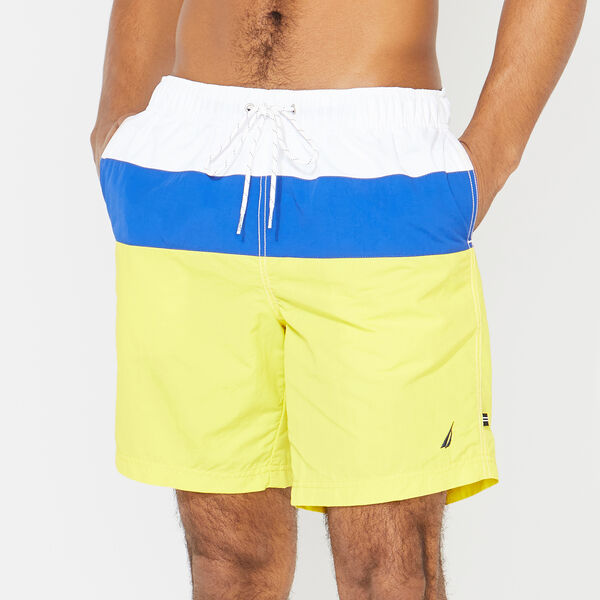 "8"" COLORBLOCK  SWIM TRUNKS - Blazing Yellow"