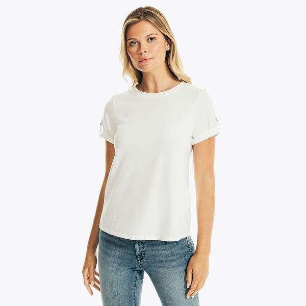NAUTICA JEANS CO. SOLID TAB-SLEEVE TOP - Marshmallow
