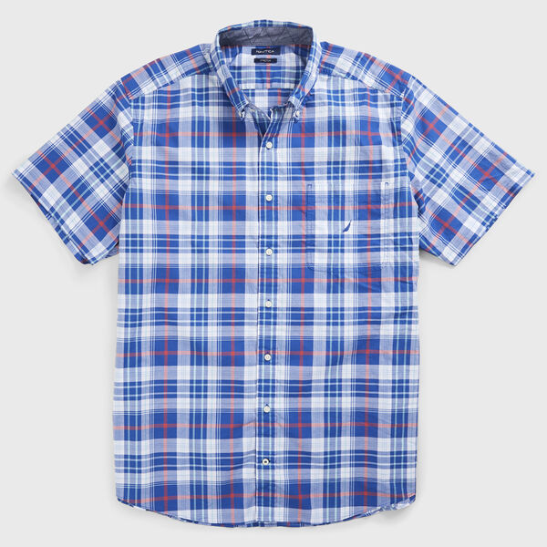 BIG & TALL CLASSIC FIT PLAID SHIRT - Windsurf Blue