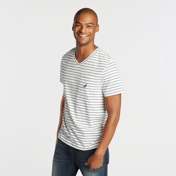 CLASSIC STRIPE V-NECK POCKET T-SHIRT - Bright White