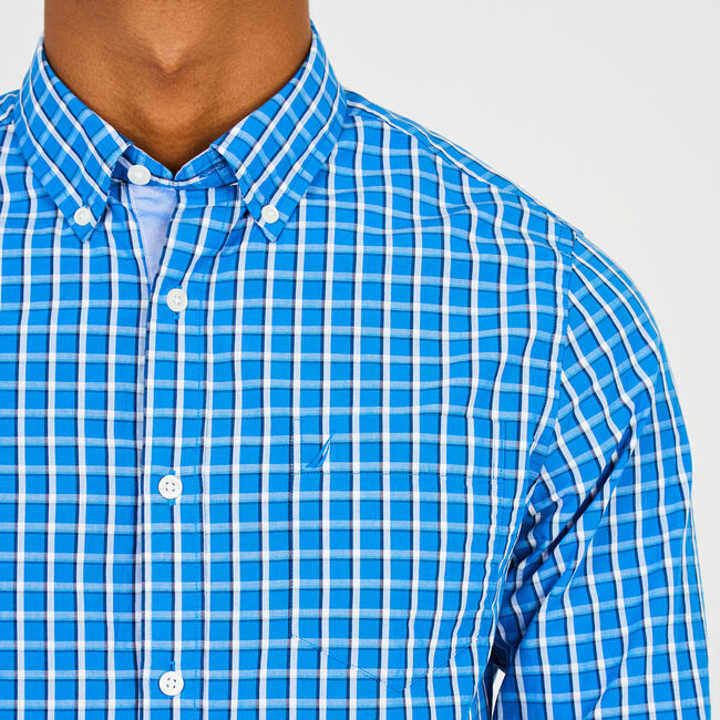 Long Sleeve Slim Fit Grid Plaid Button Down,True Navy,large