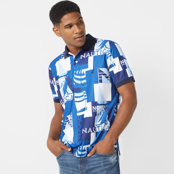 CLASSIC FIT SHORT SLEEVE PRINTED POLO - Bright White