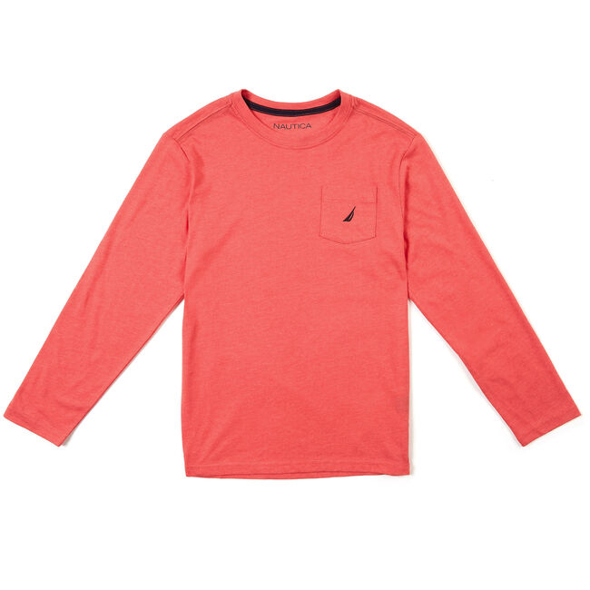 Toddler Boys' Long Sleeve Chest Pocket T-Shirt (2T-4T),Reckoning Red,large