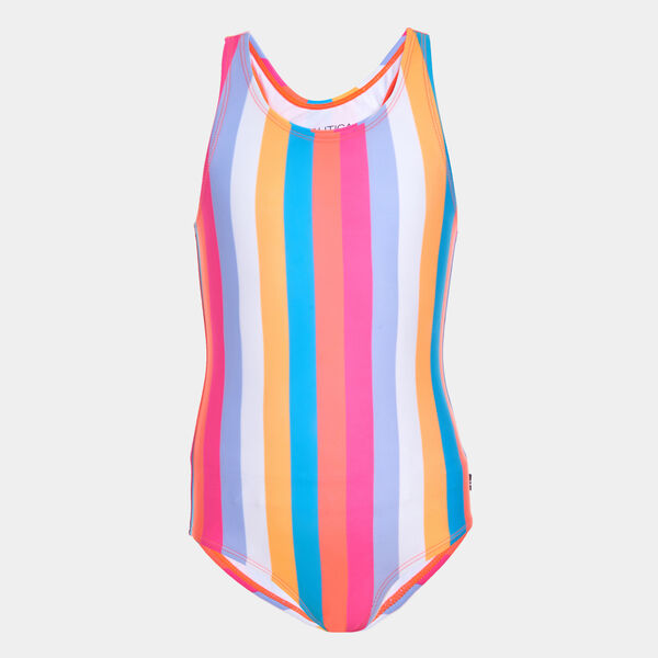 TODDLER GIRLS' COLORFUL STRIPED ONE-PIECE SWIMSUIT (2T-4T) - Neon Coral