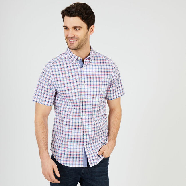 Plaid Classic Fit Poplin Short Sleeve Shirt,Bright White,large