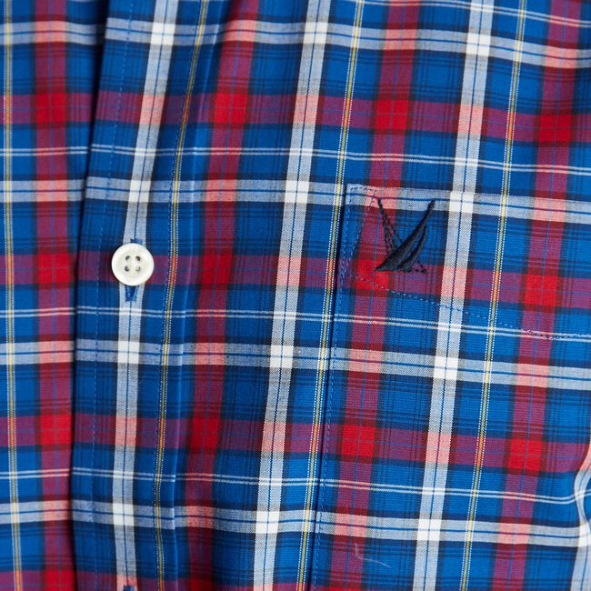 CLASSIC FIT WRINKLE-RESISTANT PLAID SHIRT,Nautica Red,large