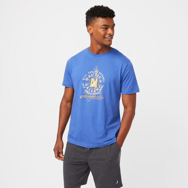 SAILING LOGO GRAPHIC SLEEP T-SHIRT - Windsurf Blue
