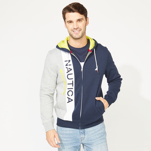 NAUTICA LOGO COLORBLOCK HOODIE - Pure Dark Pacific Wash