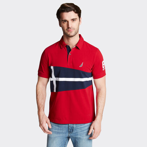 Classic Fit Jersey Polo in Flag Appliqué - Nautica Red