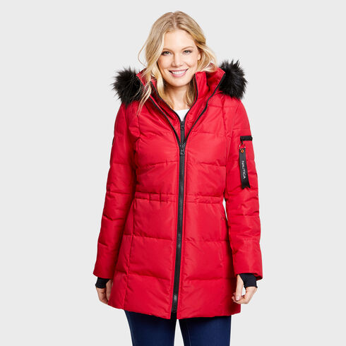 Midweight Sporty Puffer Parka - Tomales Red