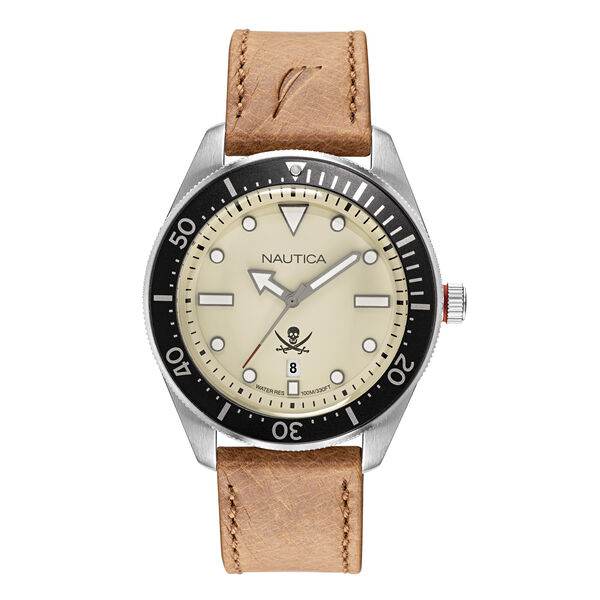 HILLCREST PARCHMENT DIAL WATCH WITH LEATHER STRAP - Multi