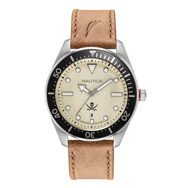 HILLCREST PARCHMENT DIAL WATCH WITH LEATHER STRAP,Multi,large