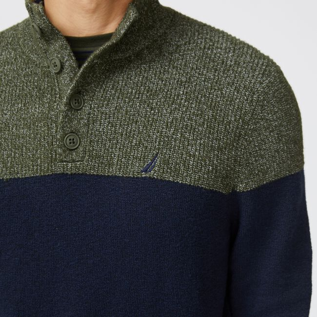 SUSTAINABLY CRAFTED COLORBLOCK SWEATER,Navy,large