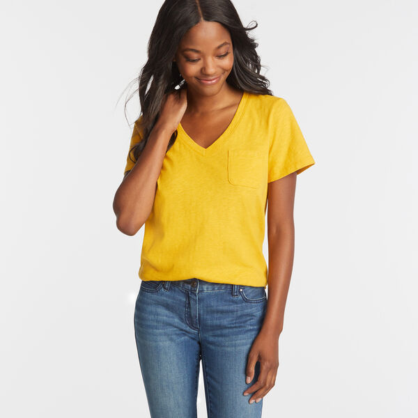 NAUTICA JEANS CO. SOLID V-NECK POCKET TEE - Yacht Yellow