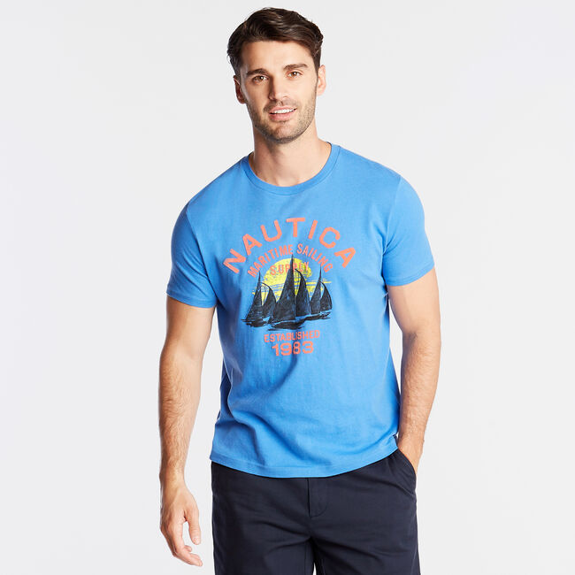 JERSEY T-SHIRT IN MARITIME SAILING SUPPLY GRAPHIC,Reef Blue,large