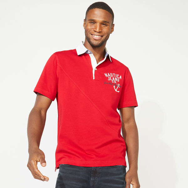 NAUTICA JEANS CO. DIAGONAL PIECED POLO - Nautica Red