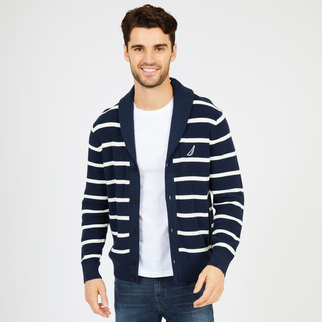 Long Sleeve Button-Front Shawl-Collar Striped Cardigan,True Navy,large
