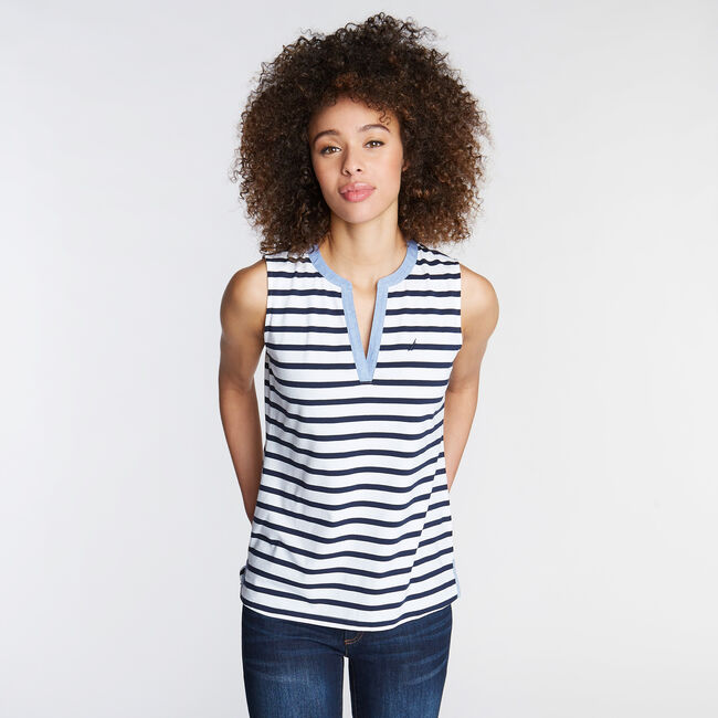 JERSEY TANK IN STRIPE,Bright White,large