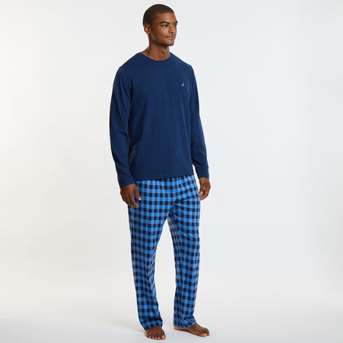 Knit + Woven Pajama Set - Gingham - Bayberry Blue