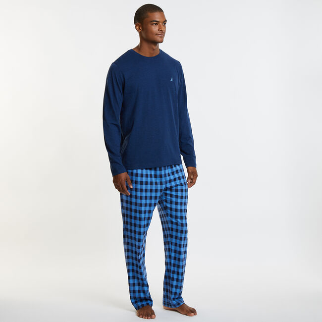 Knit + Woven Pajama Set - Gingham,Bayberry Blue,large