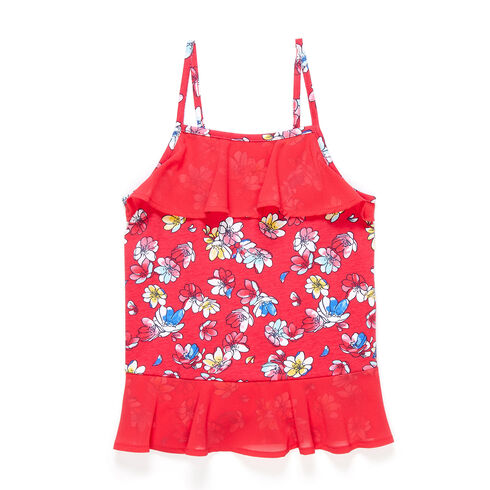 Little Girls' Jersey + Chiffon Floral Tank (4-6X) - Buoy Red