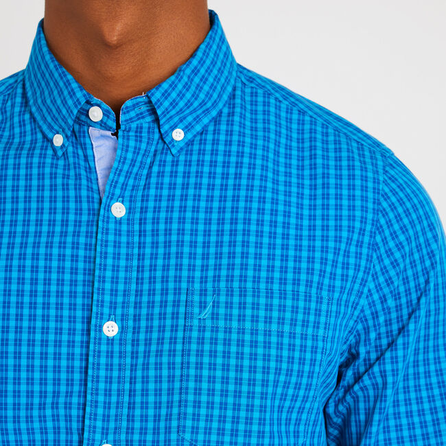Long Sleeve Slim Fit Plaid Button Down,Bright Blue Jig,large
