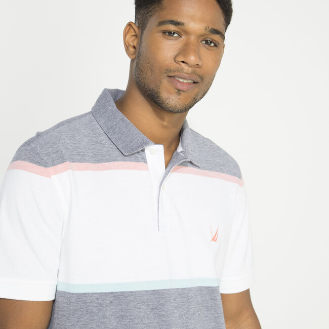 CLASSIC FIT COLORBLOCK STRIPE POLO,Navy,large