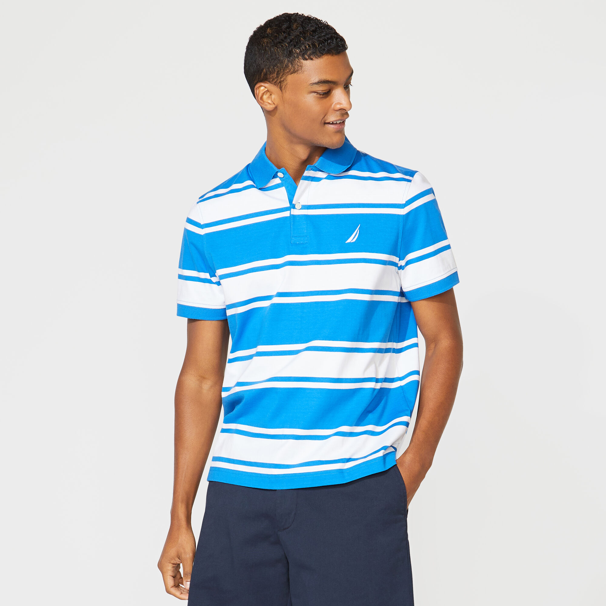 Nautica Mens Classic Fit Striped Polo