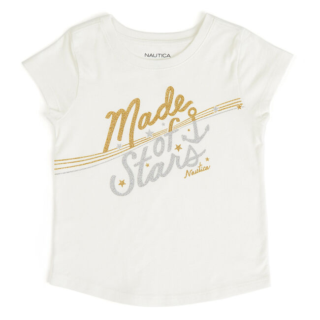 Little Girls' Made of Stars Tee (4-6X),Bright White,large