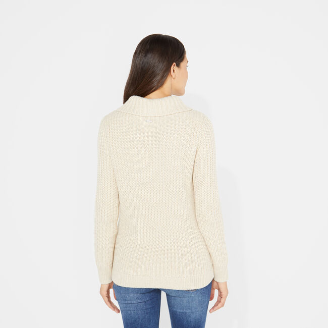 SHAWL COLLAR CABLE-KNIT SWEATER,Camel,large