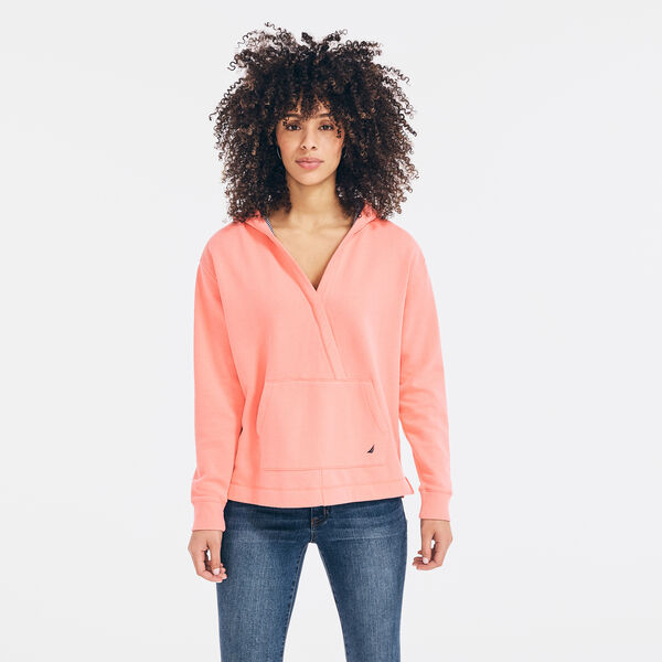 SUSTAINABLY CRAFTED WRAP-FRONT HOODIE - Sugar Coral