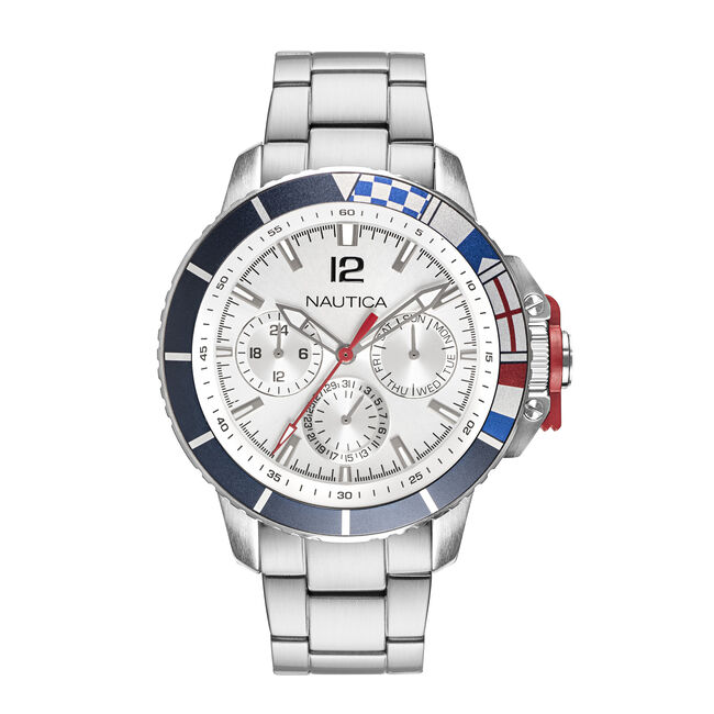 BAY WHITE DIAL STAINLESS STEEL WATCH,Multi,large
