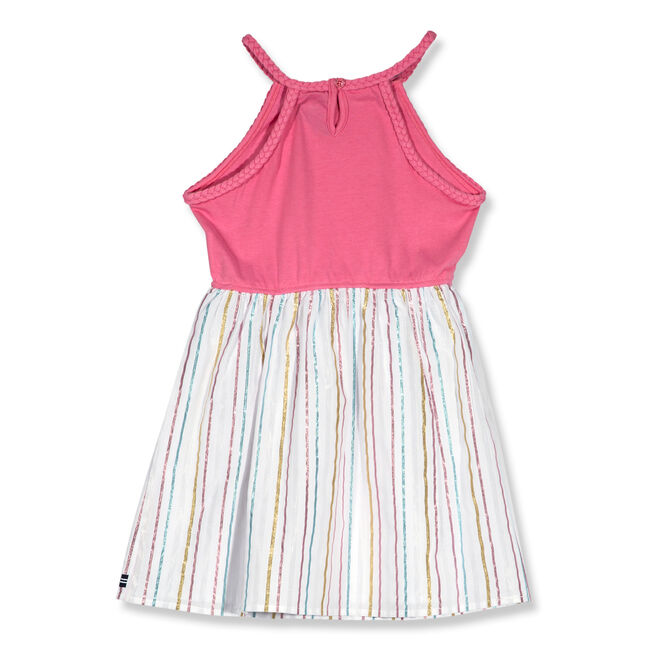 Toddler Girls' Combination Dress With Lurex Stripe Skirt (2T-4T),Nautica Red Heather,large