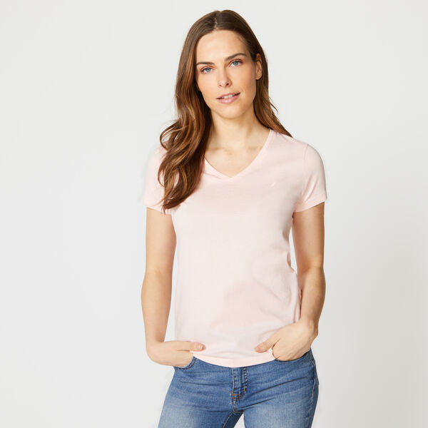 SOLID V-NECK TEE - Fancytail Fuschia