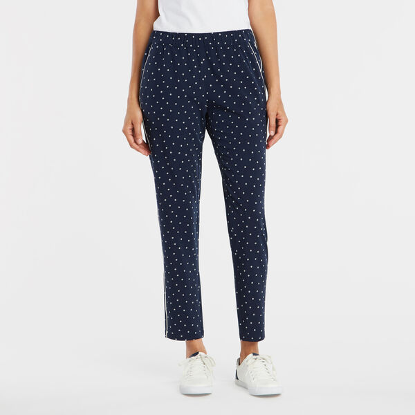 FLORAL PRINTED PULL ON PANT - Stellar Blue Heather