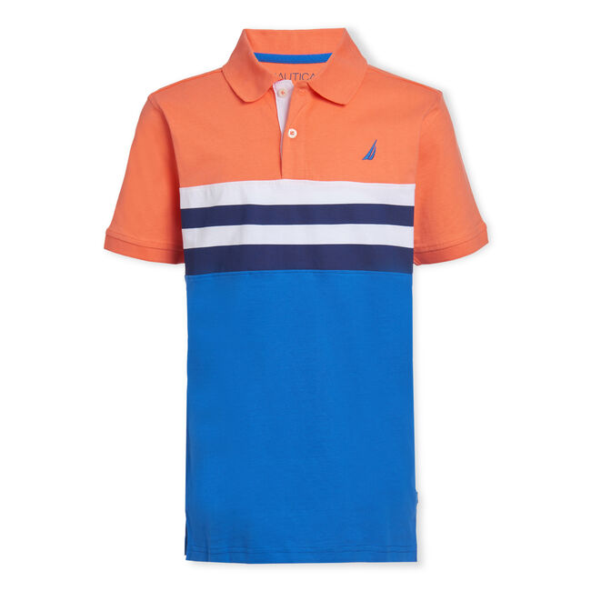 BOYS' LINCOLN STRIPE CHEST POLO,Livng Coral,large