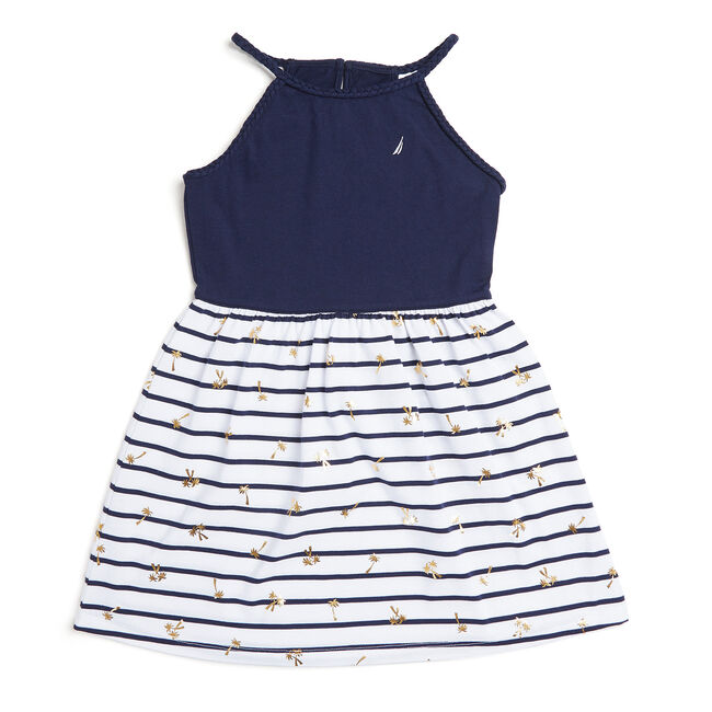 Little Girls' Halter Top Dress With Palm Foil (4-6X),Navy,large