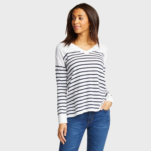 Stripe V-Neck Sweater - Bright White