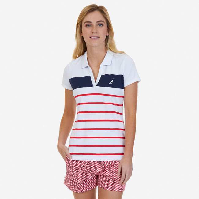 Engineered Stripe Classic Fit Polo,Desert Rose,large