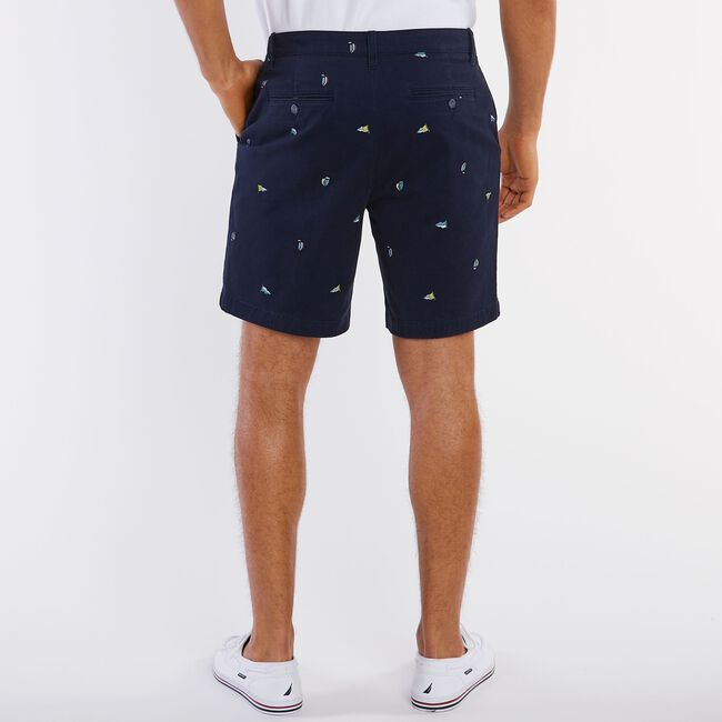 "Big & Tall Sailboat Flag Motif Classic Fit Deck Shorts - 8.5"" Inseam,Navy,large"