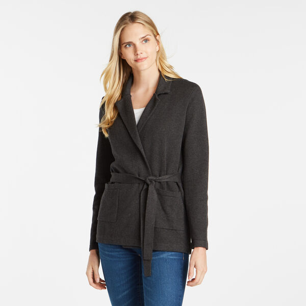 SOLID TIE-WAIST CARDIGAN - Dark Black Heather