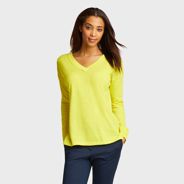 V-Neck Linen Blend Sweater - Canary