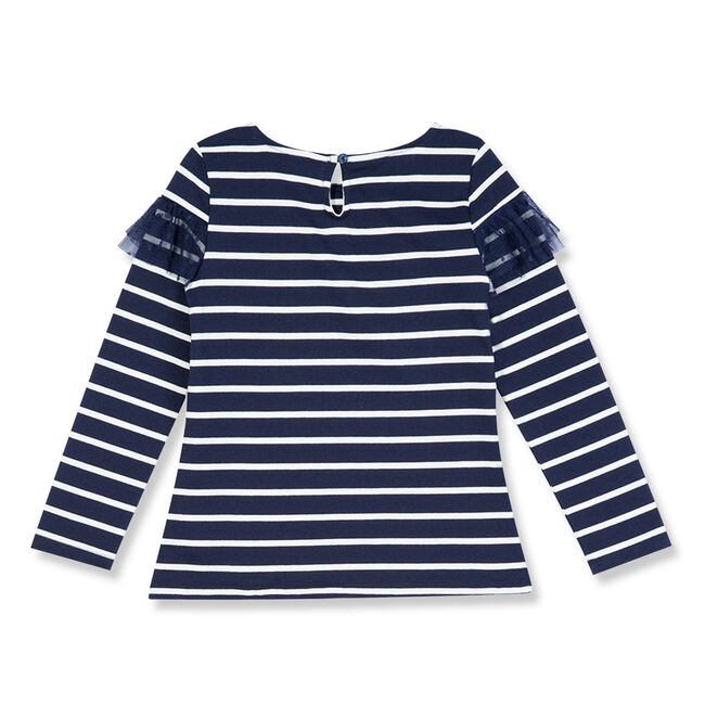 Toddler Girls' Striped Top With Mesh Ruffle (2T-4T),Navy,large