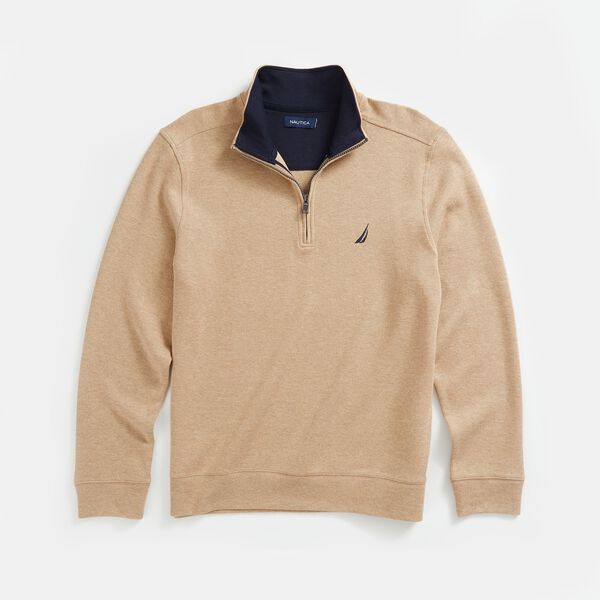 QUARTER-ZIP FRENCH RIBBED SWEATSHIRT - Camel Heather