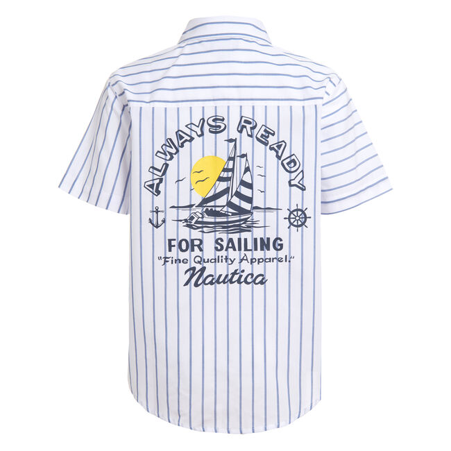 TODDLER BOYS' STRIPED BACK GRAPHIC SHORT SLEEVE SHIRT (2T-4T),Antique White Wash,large