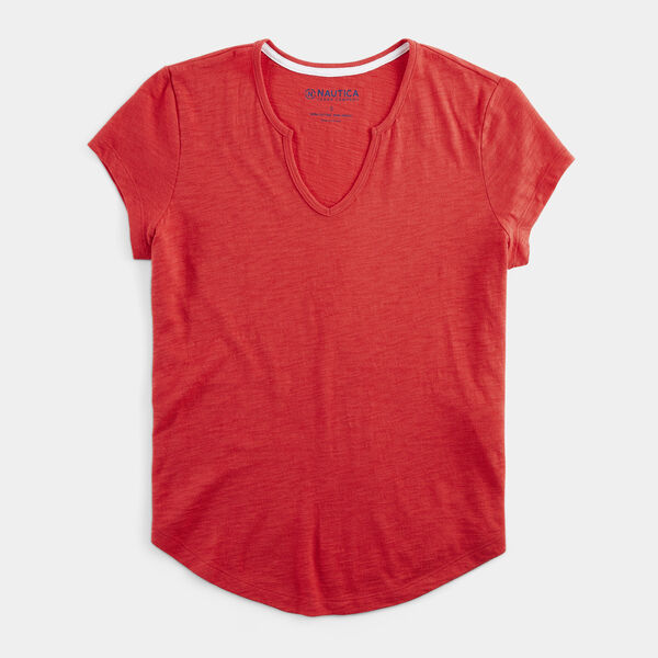 NAUTICA JEANS CO. SPLIT NECK SLUB TOP - Buoy Red