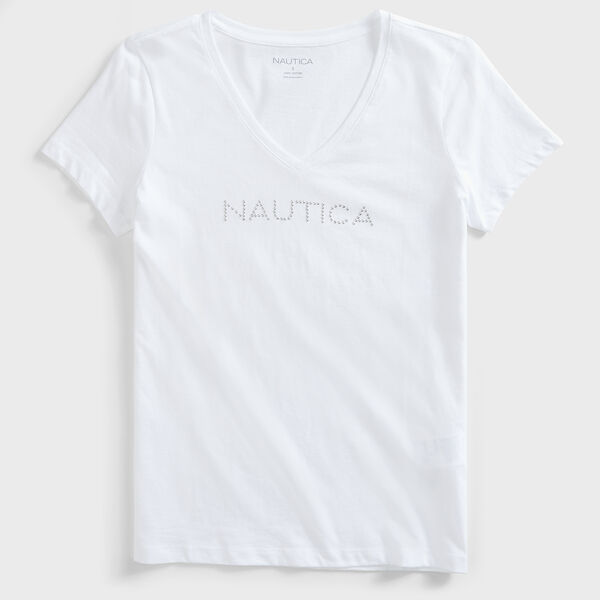 STUDDED LOGO V-NECK TEE - Bright White