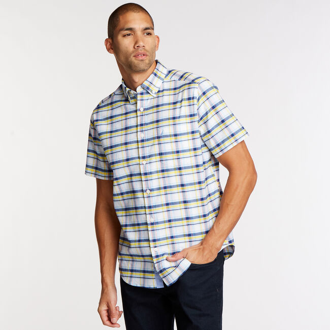 Short Sleeve Classic Fit Oxford Shirt in Plaid,Bright White,large